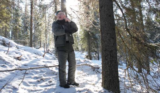 Timo Nissinen on metsässä, joka siirtyi määräaikaisen suojelun jälkeen pysyvään suojeluun. Valo tulee hänen selkänsä takaa ja maassa on lunta.