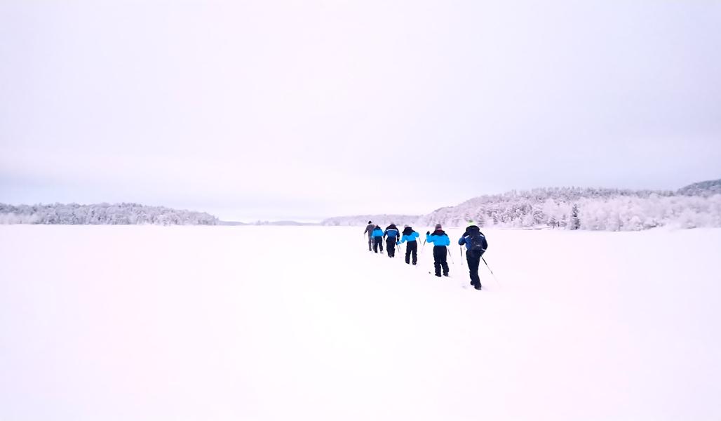 Lapissa keskellä jäätynyttä ja lumista järvenselkää etenee jonossa kuusi hiihtäjää.