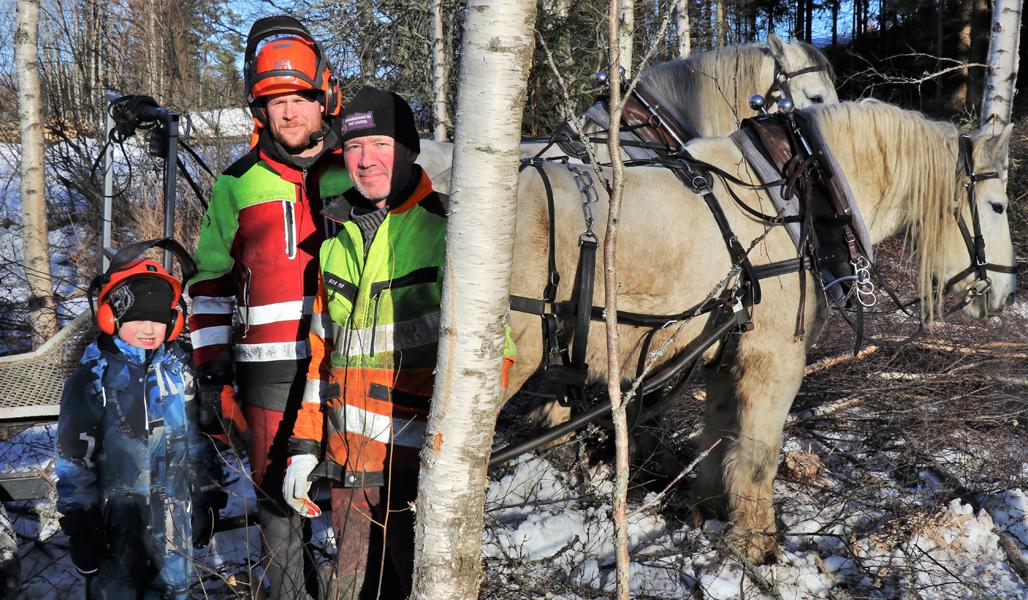 Kuvassa Joonatan-poika, hevosmetsuri Miika Åfelt ja metsuri Peter Ekholm.