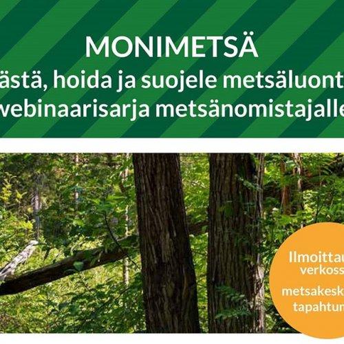 @metsakeskus: 🌲 Säästä, hoida ja suojele metsäluontoa on maksuton webinaarisarja metsänomistajille. 🌲  Ensimmäinen webinaari järjestetään 7.11. Ilmoittaudu mukaan 4.11. mennessä osoitteessa metsakeskus.fi/tapahtumat  #metsänhoito #luonnonhoito #monimetsä #monimuotoisuus #metsänomistaja #metsä #suojelu #metsoohjelma