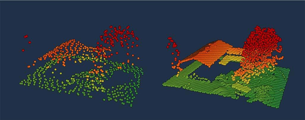 Tummansinisellä pohjalla on havainnollistettu laserkeilauksen punakeltaista ja vihreää pistepilveä. Vasemmalla kuvassa näkyy aiemman keilausmenetelmän harvaa pistepilveä ja oikealla uuden menetelmän noin kymmenen kertaa tiheämpää pistepilveä.