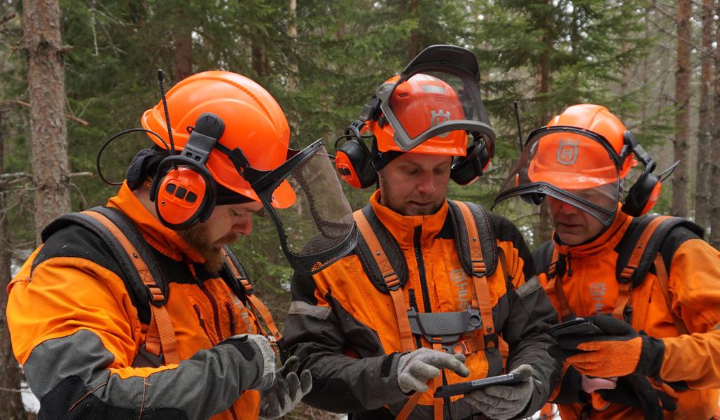 Metsurit Pekka Niskanen, Janne Iivanainen ja Pekka Heikkonen selaavat vierekkäin älypuhelimiaan.